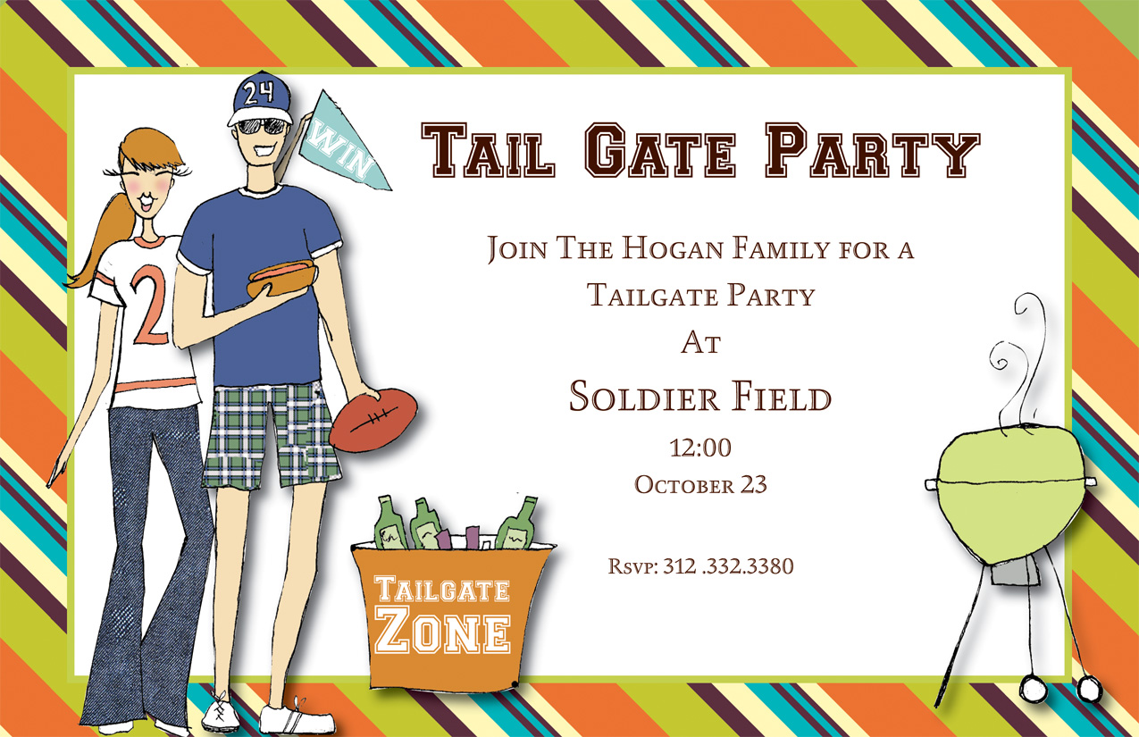 Tailgatin Invitation - Get ready to support your favorite team! This tailgate party invitation shows a couple in sporty attire with a grill and bucket of beer. Everything you need for an awesome tailgating party! Glitter upgrade available for an additional $0.30 per card. Printed on white textured cardstock and includes a coordinating colored envelope.