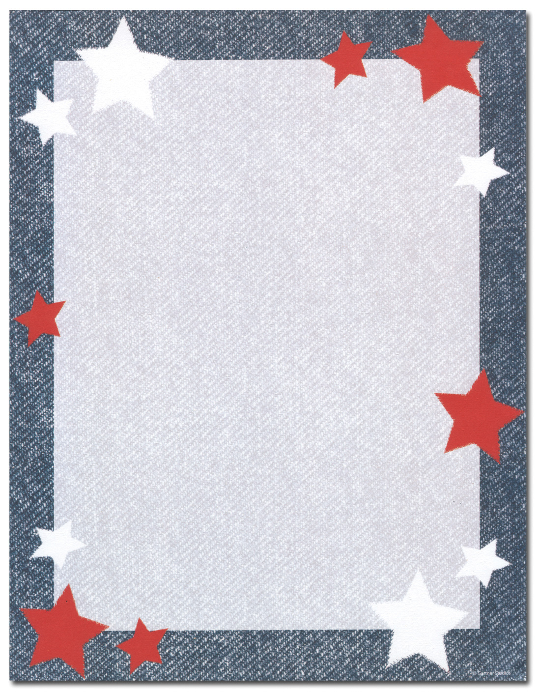 Star Blue Border Laser Paper  - This patriotic paper will show your true spirit with a bold blue border and Red and white stars along the edges.  Colored envelopes are available but are sold seperate.