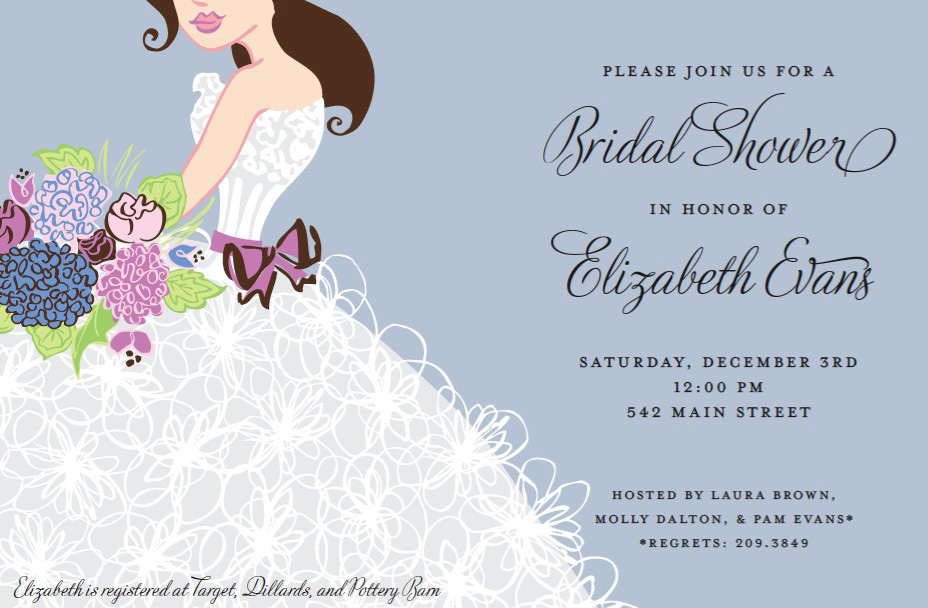 Floral Brunette Invitation - This romantic invitation has a smiling bride with her flowing white gown and lavender bow tied around her waist, holding a brightly-colored bouquet of flowers.  A pale grey background completes the picture! Available blank or personalized.  Includes white envelope.
