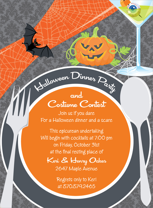 """Quick View - NOT-ID-1157 - """"Halloween Place Setting Invitation"""