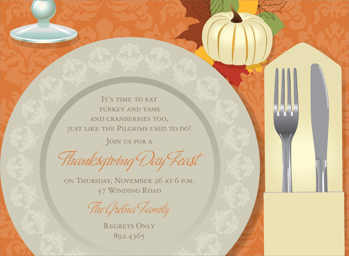 Autumn Place Setting Invitation  - Get ready for Thanksgiving! This fall place setting invitation is decorated with a decorated plate, silverware, and a white pumpkin on fall leaves set against an orange background. Perfect for a fall dinner party or Thanksgiving dinner. Digitally printed on 100lb cardstock and includes a white envelope.