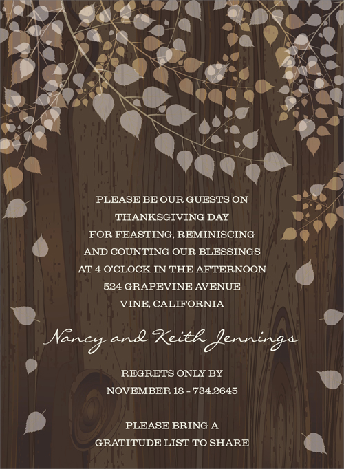 Woody Leaves Invitation  - Enjoy the fall season with cascading leaves! This lovely invitation shows light, translucent leaves tumbling softly from their branches against a rich tree trunk background. Perfect for a fall wedding or engagement event. Digitally printed on 100lb cardstock and includes a white envelope.