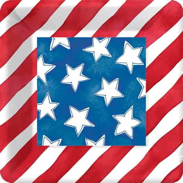 Stars and Stripes Dessert Plates  - This fourth of July have you table set to your patriotic theme to show your tru spirit.  This dinner plate is created with the stars and stripes of the american flag.  Perfect for your independence day party.  Minimum order is 24.