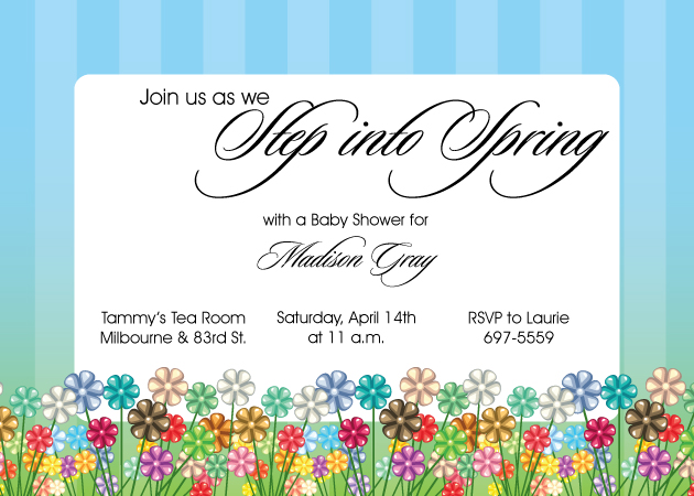 Step into Spring Invitation - Fresh and springy! This invitation is decorated with a field of color flowers across the bottom. The background is a green and blue border against a white center. Makes a great invitation for a baby shower, Easter, or girls birthday. Includes white envelopes.
