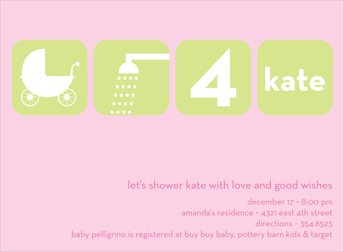 Baby Shower Icons Pink Invitation - This beautiful invitation cleverly uses pictures to invite your guests to a baby shower!  Lime green and white icons stand out brightly against a soft pink background.  Also available in lime, taupe and teal.  Digitally printed on 100lb cardstock and includes a white envelope.