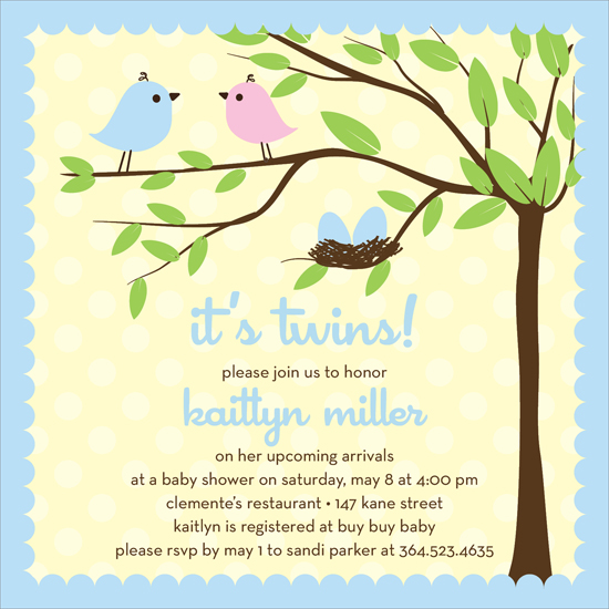Bird Tree Egg Boy Twins Invitation - Twins!  This adorable invitation features a small blue and pink bird sitting atop a tree branch, with two blue eggs in a nearby nest.  A light blue scalloped border frames the pale yellow and white background.   Also available in pink for girls or pink/blue for one of each! Digitally printed on 100lb cardstock and includes a white envelope.