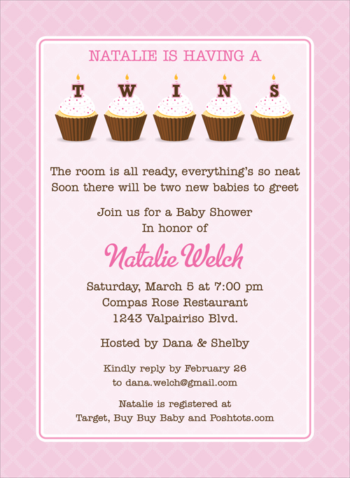 Cupcake Twins Girl Invitation - This eye-catching invitation features a bright pink lattice-inspired border and pale pink background.  Five yummy cupcakes each old a letter to spell TWINS with matching pink candles and sprinkles.  Also available in blue!  Digitally printed on 100lb cardstock and includes a white envelope.