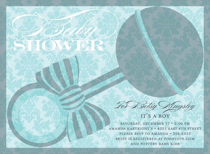 Damask Rattle Bali Invitation - This striking invitation features a large grey and blue rattle against a soft blue damask background.  The flowing scroll font completes the picture!  Also available in pink, lime or buttercup. Digitally printed on 100lb cardstock and includes a white envelope.