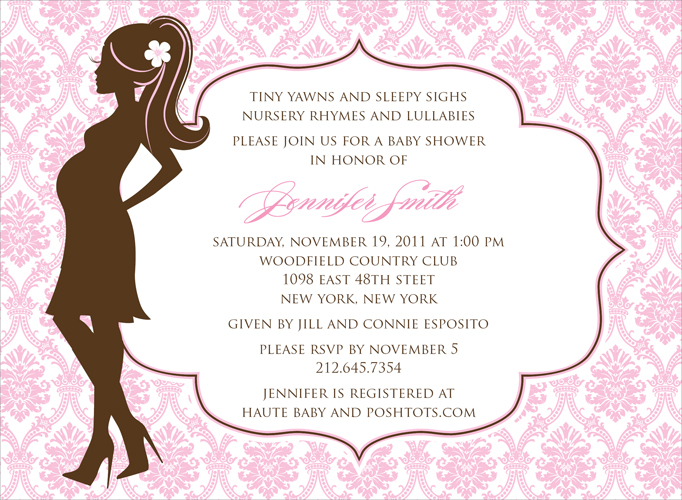 Damask Silhouette Pink Invitation - This striking invitation features the silhouette of a fashionable mother-to-be against a soft pink damask background.  The large center area for your text is gently framed with a decorative border.  Also available in blue, lime or buttercup. Digitally printed on 100lb cardstock and includes a white envelope.