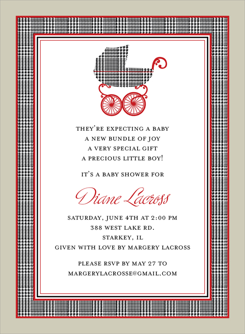 Prince of Wales Pram Invitation - This popular baby shower invitation features a border and baby pram in black and white houndstooth print, with red accents and a taupe outside border.  Also available for twins!  Digitally printed on 100lb cardstock and includes a white envelope.