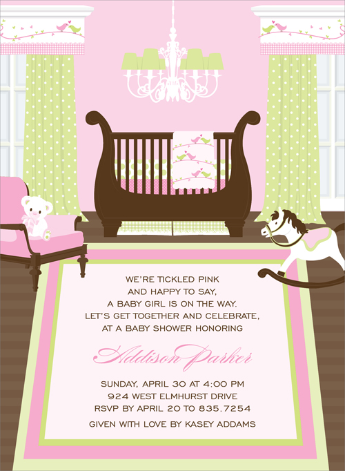 Sweet Nursery Birds Invitation - This captivating invitation features a precious nursery for a new baby girl!  Delicate prints in pinks and soft greens  decorate the windows and walls,  with matching bedding and chandelier.  This would also make a great birth announcement!  Other available themes include Nautical, Safari and Transportation.  Digitally printed on 100lb cardstock and includes a white envelope.