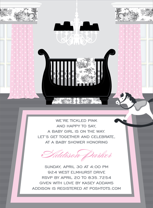 Sweet Nursery Toile Invitation - This enchanting invitation features  a beautiful baby girls nursery with a touch of old-fashioned elegance.  Beautiful pink drapes with a black and white toile valance adorn the windows, with matching toile bedding adorning the regal sleigh bed.  An ornate chandelier and rocking horse complete the picture! Digitally printed on 100lb cardstock and includes a white envelope.
