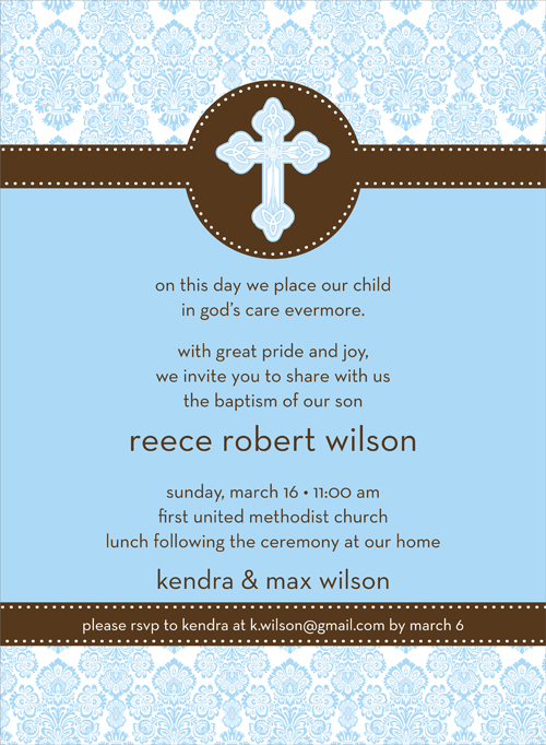 Quick view not id 1541 damask baptism blue invitation damask baptism blue invitation this elegant invitation features a light blue damask top and bottom stopboris Images
