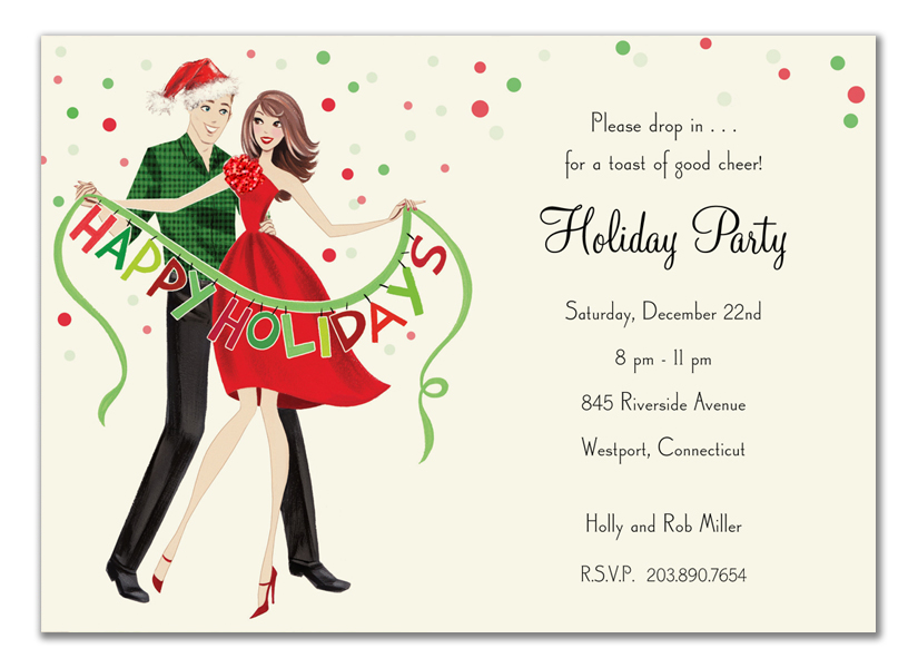 Holiday Couple Invitation - This festive invitation from the Bonnie Marcus Collection features a couple holding a green and red HAPPY HOLIDAYS banner.  This invitation is expertly printed on luxurious warm white heavyweight paper. A portion of the proceeds from the sale of this product is donated to breast cancer research and education. Warm white envelopes are included.   PLEASE NOTE:  Price shown is for item WITHOUT glitter.  If ordering WITH glitter, then price is additional .50 per card.   Please specify in the comments section if you would like to add glitter. The glitter is very fine and will easily print on ink or laser jet printers.