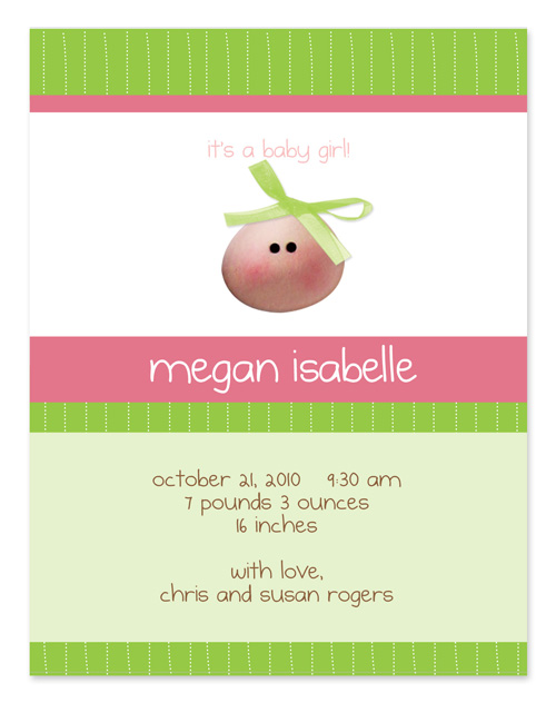 My Baby Face Invitation - This cute, petite announcement is created with a little baby girls face. It is set against a striped green and pink background with a green ribbon on her head. The baby face is made of a foamy sticker that gives an added touch to create your unique baby girl announcement. Product comes fully assembled and includes white envelopes.
