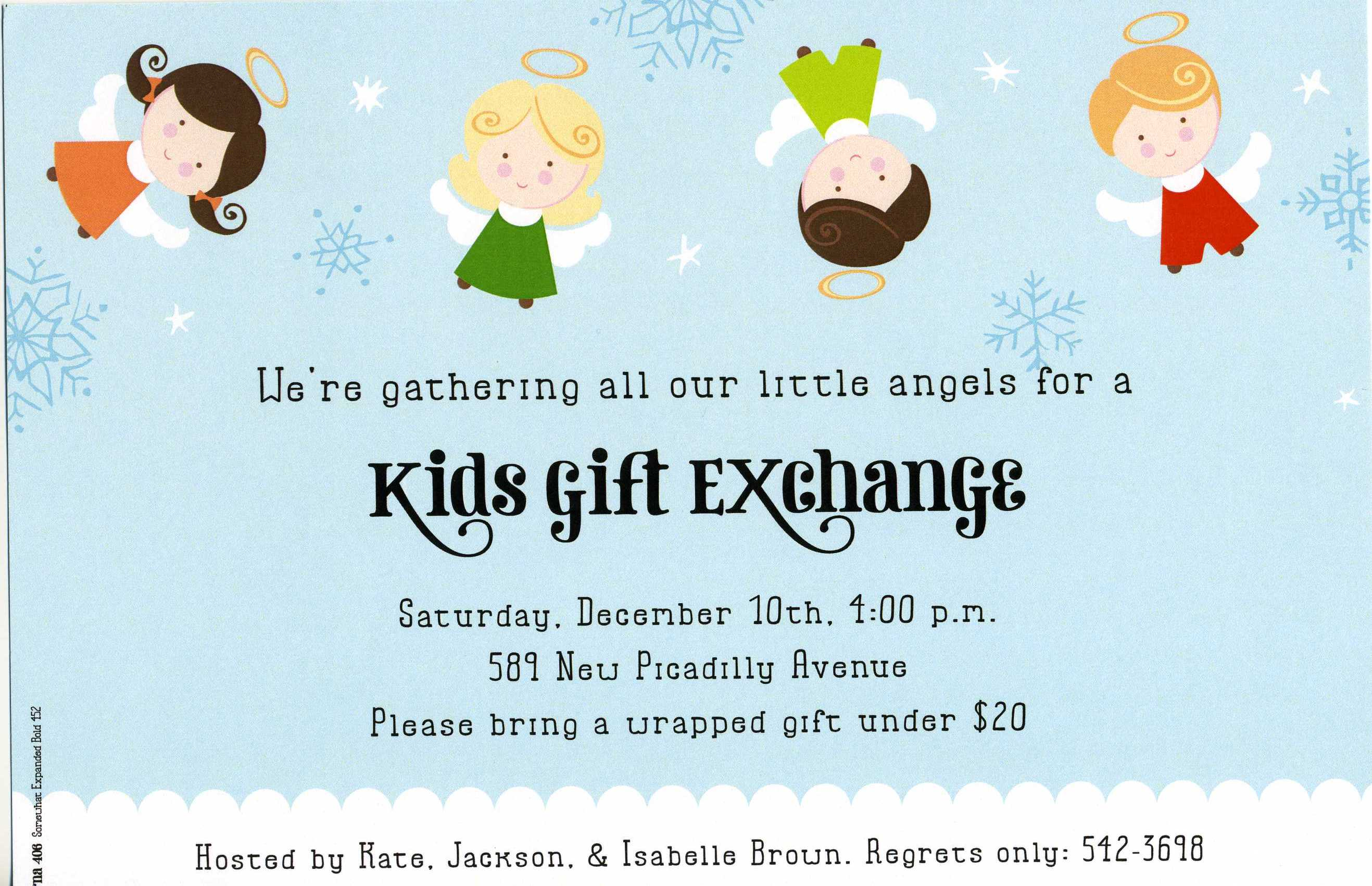 Peace Angels - This adorable invitation shows four sweet angels floating through the pale blue sky next to snowflakes and stars. What a fun way to invite friends and family to your next holiday party or gift exchange! Includes white envelope.