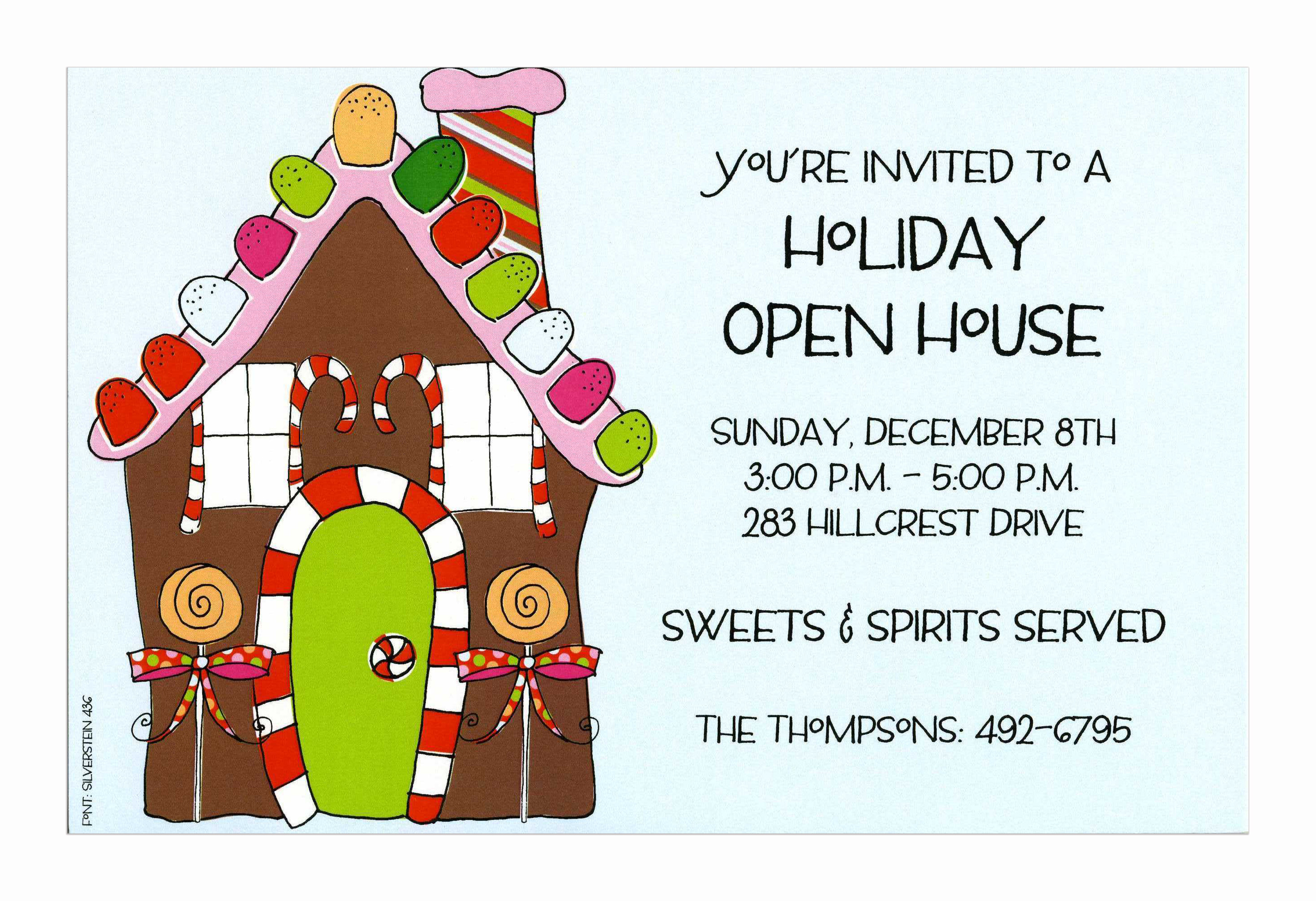 Sweet House - This yummy invitation shows a candy-covered gingerbread house complete with gumdrop roof and candy can window shutters!  What a delicious way to invite friends and family to your holiday open house or Christmas party! Includes white envelope.
