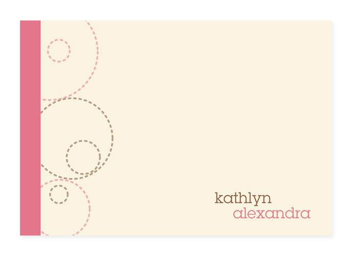 Circles And Swirls Pink Note Card