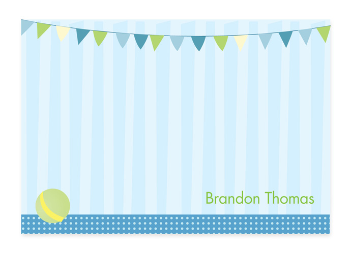 Circus Set Note Card - This cute, fold-over note card is created with a circus ball and green and blue circus flags against a blue striped background. Personalize it with one line of text, such as a name. Perfect for a baby shower or new baby thank you note! Includes white envelopes.
