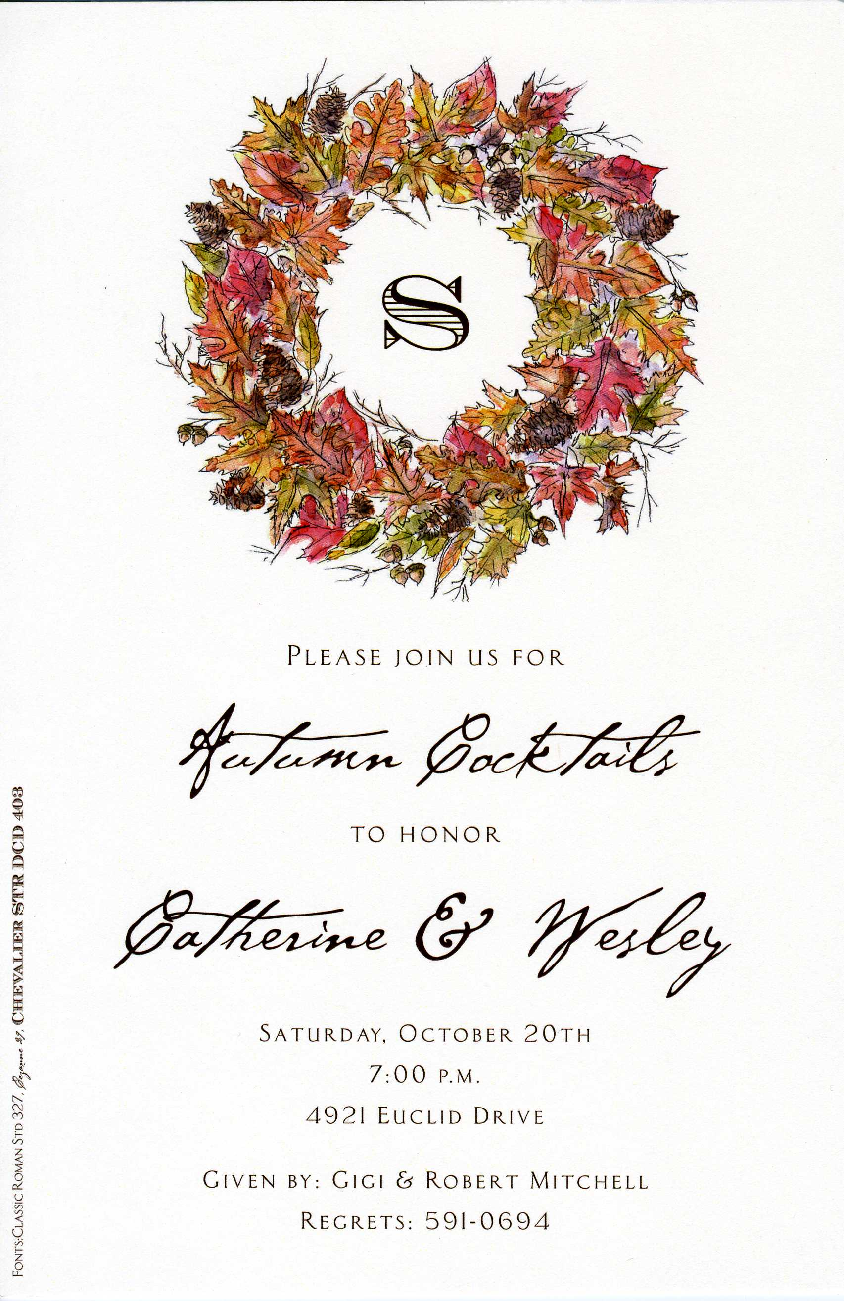 Rustic Wreath - An elegant wreath in lovely fall colors frames an area for your monogram in this invitation that is perfect for any occasion this season! Includes ivory envelope.