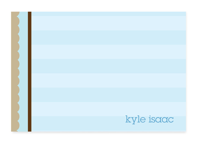Blue and Brown Stripes Note Card - This cute, fold-over note card is created with a blue striped background and brown striped border along the left side. Personalize it with one line of text, such as a name. Perfect for a baby shower or new baby thank you note! Includes white envelopes.