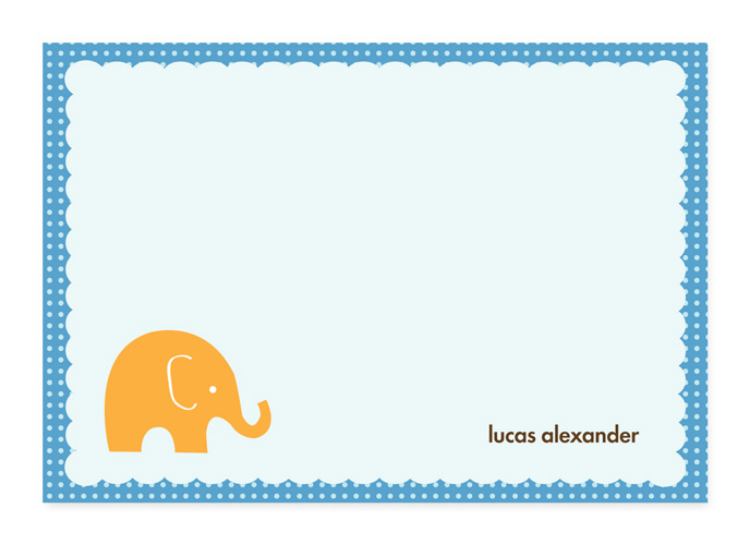 My Little Elephant Note Card - This cute, fold-over note card is created with a little orange elephant against a light blue background and a blue polka dotted border. Personalize it with one line of text, such as a name. Perfect for a baby shower or new baby thank you note! Includes white envelopes.