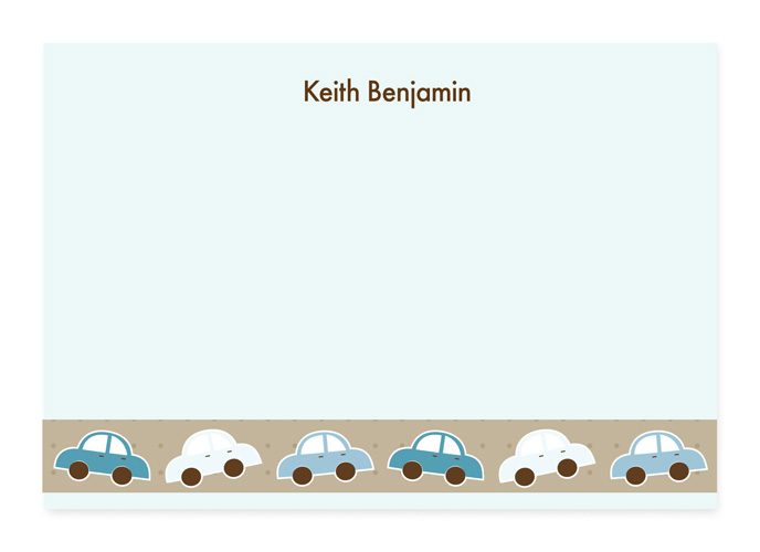 Run Run Cars Note Card - This cute, fold-over note card is created with a blue and white cars driving along a light brown border with a light blue background. Personalize it with one line of text, such as a name. Perfect for a baby shower or new baby thank you note! Includes white envelopes.