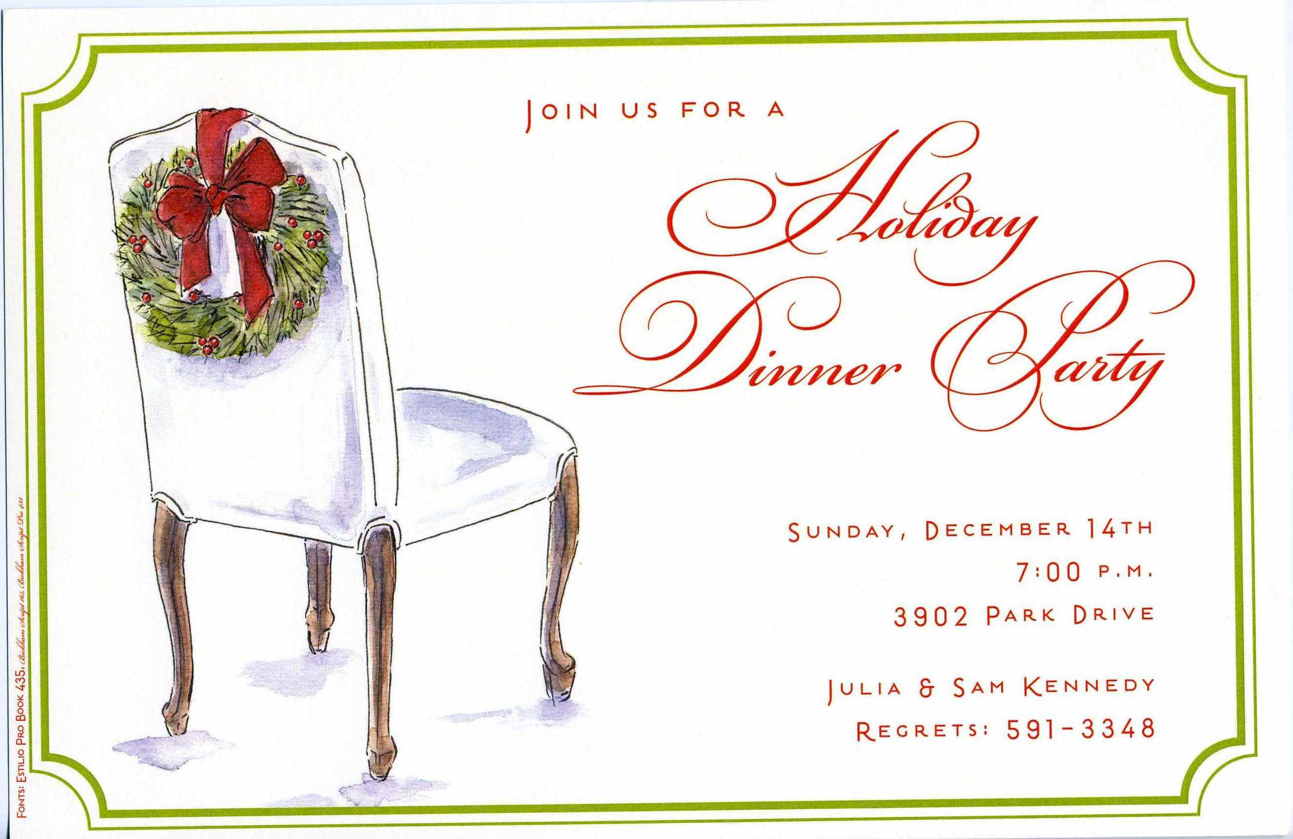 Wreath Chair - This simply elegant holiday invitation features a white dinner party chair and a festive green wreath with red accents hanging over the back.  A decorative green frame borders the card.  Perfect for a holiday dinner party or any celebration this season!  Includes ivory envelope.
