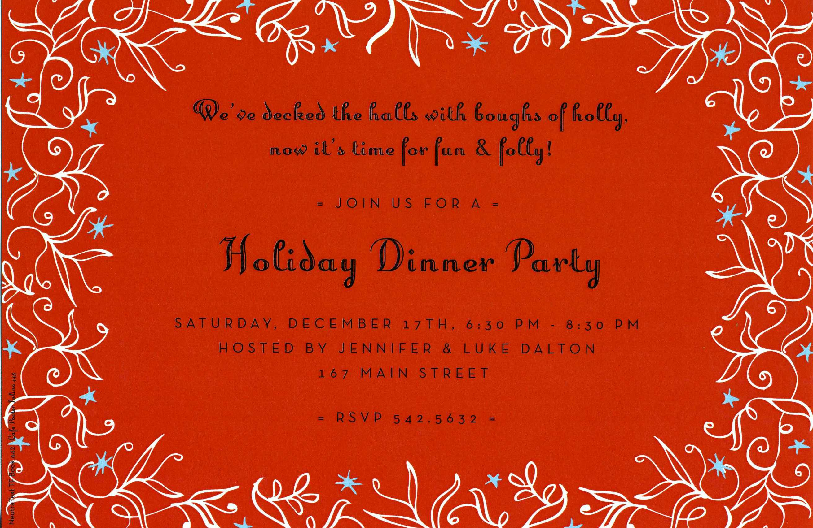 Sparkle Holy Invitation - This beautiful holiday invitation features a festive red background with a bright white vine border and decorative blue stars.  Perfect for a holiday dinner party or cocktail party!  Includes white envelope.
