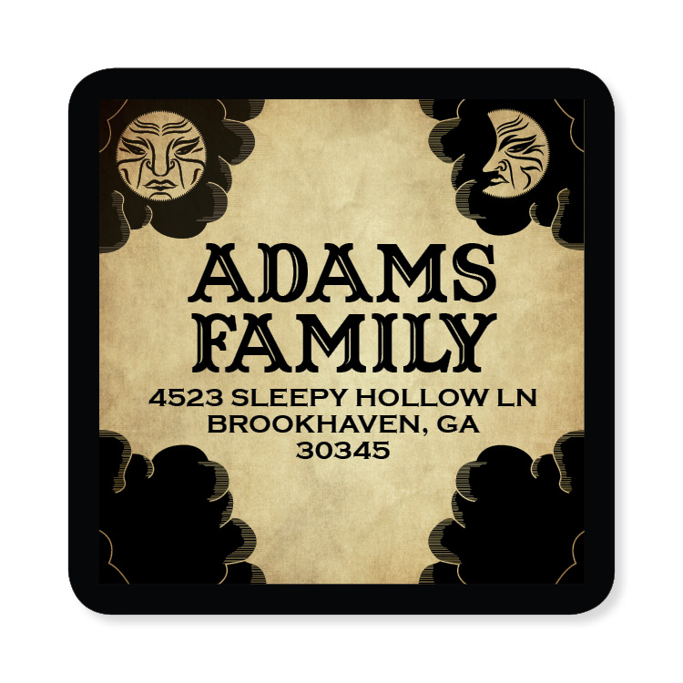 Ouija Board Label - This fun address label looks just like a Ouija Board with black clouds, a sun and a moon against a tan background. Perfect to coordinate with your Halloween invitations. Available personalized only.