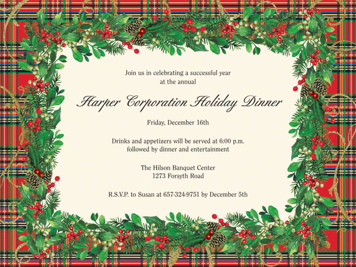 christmas plaid holiday card with gold foil this versatile invitation features a festive red plaid