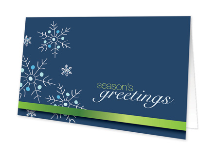 Falling Snowflakes (Blue) Invitation - This cute winter greeting card is decorated with modern dark blue background and delicate snowflakes. A green stripe garnishes the bottom. Perfect to send a holiday greeting to family and friends over the winter holiday season! Printed on high quality card stock using crisp digital printing. Includes white envelopes.