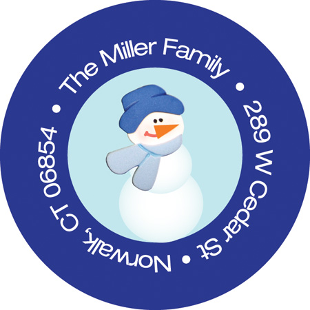 Snowman in the Snow Label - This adorable winter address label is decorated with a little snowman wearing a cap and scarf against a light blue background with a blue border. Perfect to coordinate with your holiday invitations! Available personalized only.