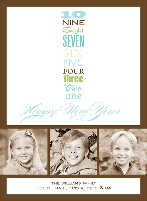 New Years Countdown White Digital Photo Card - This modern photo card is decorated with a New Years countdown. There is room for three digital photos and your personalized message. It is digitally printed on high quality card stock an makes a perfect selection for holiday photo cards! Includes white envelopes.