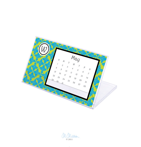 Smitten Desk Calendar  - This elegant desk calendar is essential to your office, creating a stylish look for your space!  Personalize the calendar with your monogram that is placed in the upper left side of each monthly page.  Includes an acrylic flip easel for display. Calendar and stand dimensions: 7.25x4.25 inches.
