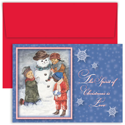 "Outdoor Fun Greeting Card - DISCONTINUEDThis heart-warming holiday scene shows three laughing children in winter scarves and stocking hats playing in the snow, making a snowman.  The right side of the card has falling white snowflakes against a beautiful blue background, with the words The Spirit Of Christmas Is Love printed in white. This inside greeting is printed in red:  ""May The Love And Warmth That Is All Around Us At Christmas Time Fill Your Heart With Joy.""  Includes red envelopes."