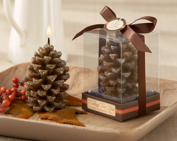 Falling for You Scented Pine  - Brides have been pining for a sublimely fabulous fall wedding favor,  this party favor gives the look of mother Nature!  The fresh cinnamon fragrance of our lifelike pinecone candle adds another delightful dimension to your ambiance.  Measures 2.5hx1.75inches. in diameter.  includes clear showcase gift box with a chocolate brown satin ribbon and bow and a colored tag that says For you.  Sold in sets of 4.