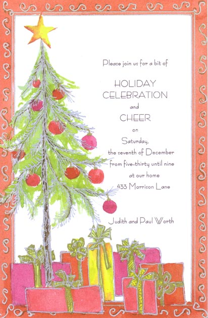 Glowing Gifts Invitation - This elegant holiday card features beautiful hand-drawn artwork on premium quality cardstock!  Cards can be printed on your inkjet/laser printer or we can print them for you.  Envelopes are included.