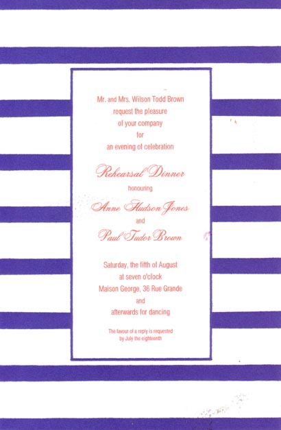 Middy Stripe Royal Border - This versatile invitation has a fun border of navy and white stripes and a thin navy frame around the center area for your text. Printed on premium quality cardstock, they are easy to print on your inkjet/laser printer or let us print them for you!   Includes white envelopes.