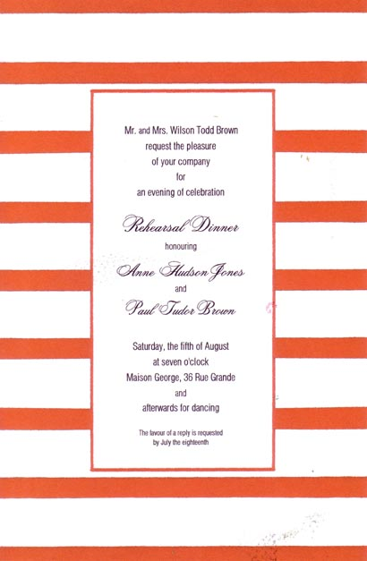 Middy Stripe Red Border Invitation - This versatile invitation has a fun border of bright red and white stripes and a thin red frame around the center area for your text. Printed on premium quality cardstock, they are easy to print on your inkjet/laser printer or let us print them for you!   Includes white envelopes.