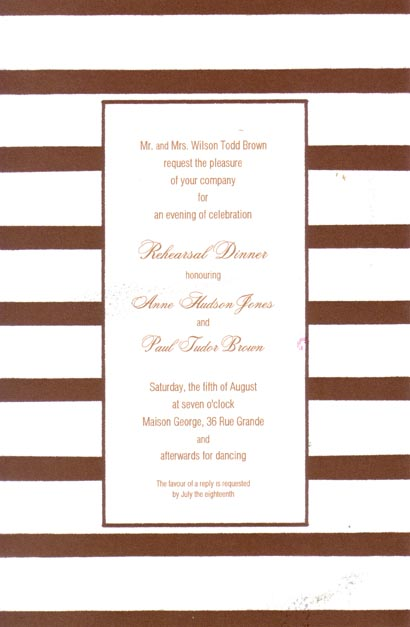 Middy Stripe Coco Border Invitation - This versatile invitation has a fun border of coco brown and white stripes and a thin coco-colored frame around the center area for your text. Printed on premium quality cardstock, they are easy to print on your inkjet/laser printer or let us print them for you!   Includes white envelopes.