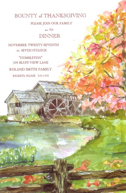 Grismill Invitation - This beautiful invitation features a an old-fashioned barn with water wheel, right on the river bank.  A large water-colored tree sits off to the right, with beautiful yellow and pink leaves floating gracefully to the lush green grass.  Perfect for a family dinner or rehearsal dinner invitation!  Includes white envelopes.