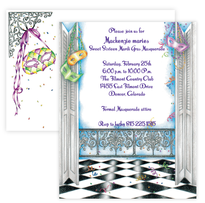 Diamonds and Masks Invitation  - Get ready for the Mardi Gras season with this fun themed invitation.  Makes a great invitation for a masquerade party, or Mardi Gras themed gathering.  includes a coordinating envelope.