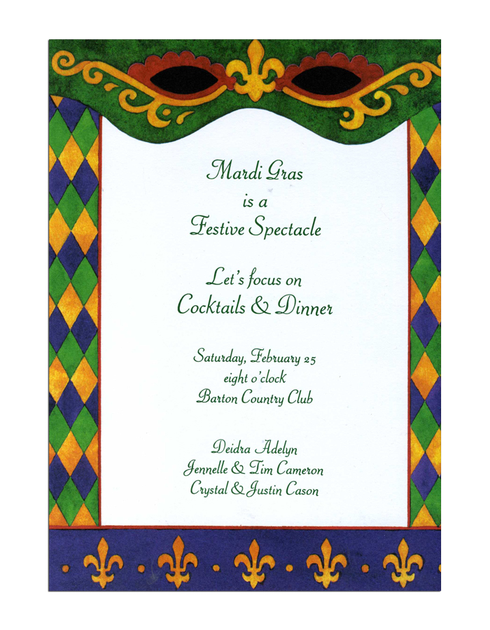 Spectacles Invitation - Lets Celebrate!  This contemporary Mardi Gras themed invitation has the traditional colors of Mardi Gras with an updated look to it!  Decorative spectacles are printed along the top green border and golden fleur de lis border the bottom.  A fun diamond pattern in green, purple and gold line both sides.White envelopes are included, or you may upgrade to Emerald, Violet or Gold at no additional cost!  Please make a note in the Comments section if you would like to change your envelope color.Premium quality cardstock.  Easy to print on your Inkjet/laser printer or we can personalize them for you!