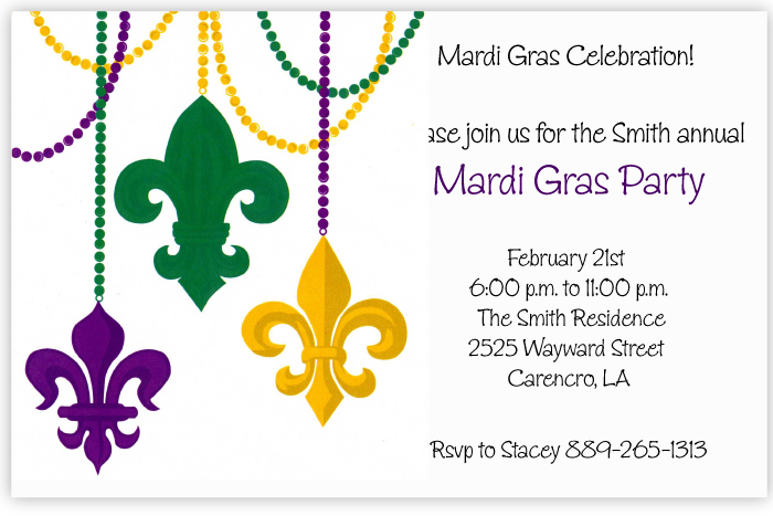 Beads & Fleur Invitation - Traditional Mardi Gras trademarks have an updated look on this fun new invitation!  Green, purple and gold fleur de lis emblems hang from beads of the same colors on this invitation that is perfect for a Fat Tuesday party or formal event.   Printed on premium quality 80 lb. cardstock and white envelopes are included. Available either blank or personalized.