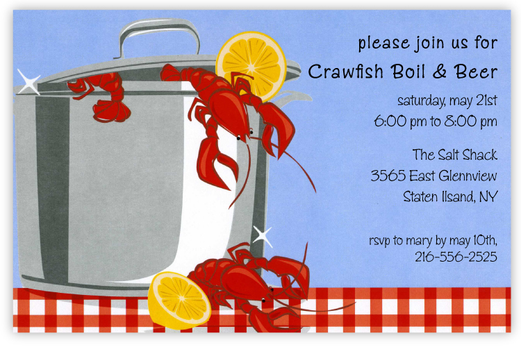 Crawfish Gleam Invitation - Bright red crawfish are boiling over a large silver pot on this fun invitation that is perfect for your next boil or picnic!  Sunny yellow lemons and a beautiful blue sky add plenty of color to this invitation that friends and family will love to receive.   Printed on premium quality 80 lb. cardstock and white envelopes are included. Available either blank or personalized.