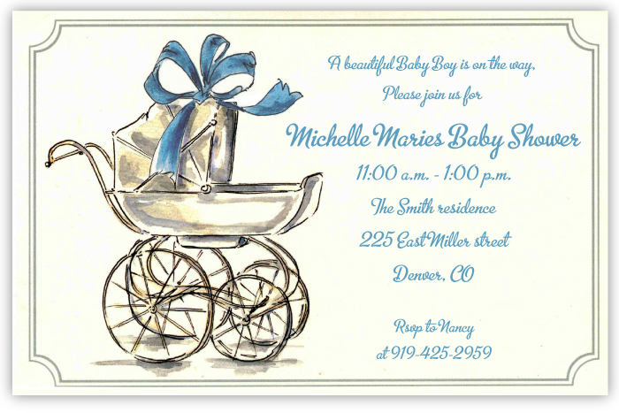 His Carriage Invitation / Announcement - An elegant blue bow is tied on the top of an old-fashioned pram on this beautiful invitation that would also make a great birth announcement!  Printed on premium quality ivory card stock and ivory envelopes are included. Available either blank or personalized.