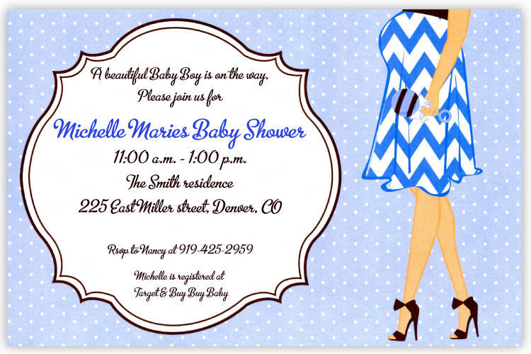 Awaiting Boy Invitation - A trendy mother-to-be is wearing a blue and white striped dress and chocolate brown high heels on this contemporary baby shower invitation.   A decorative frame surrounds the area for your personalization and the background is a sweet polka dot on light blue pattern.  Printed on premium qualitycardstock and white envelopes are included. Available either blank or personalized.