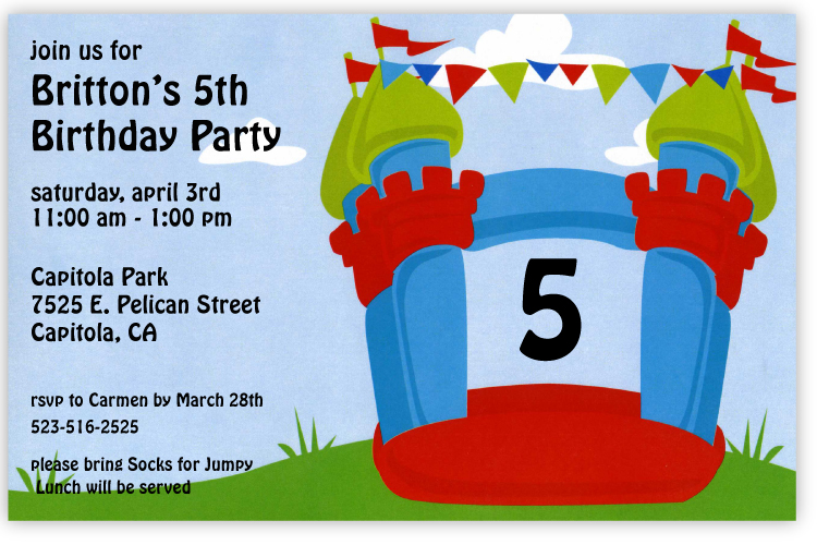 Bounce Castle Invitation - What an exciting way to announce your next childrens party!  A brightly colored bouncy castle is decorated with multi-colored flags and the age of your child (can be changed to any number).  Printed on premium quality 80 lb. cardstock and white envelopes are included. Available either blank or personalized.