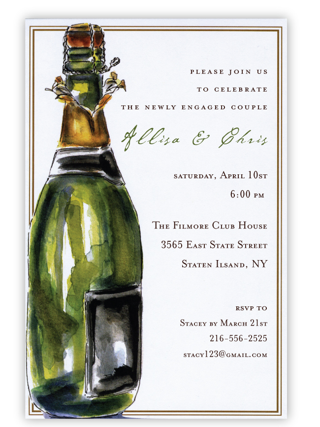 Bubbly Bottle Invitation - Celebrate!  A festive bottle of champagne is the highight of this invitation that is perfect for any celebration!  Printed on premium quality 80 lb. cardstock and white envelopes are included. Available either blank or personalized.